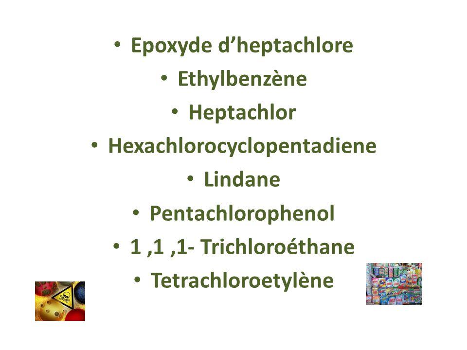 Epoxyde dheptachlore Ethylbenzène Heptachlor Hexachlorocyclopentadiene Lindane Pentachlorophenol 1,1,1- Trichloroéthane Tetrachloroetylène