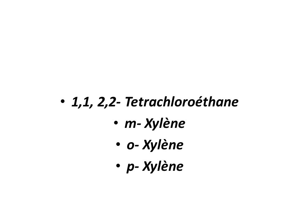 Alachlore Carbofurant Chlorobenzène Dibromochloropropane Dibromure déthylène Trans – 1,2 Dichloroéthylène Cis-1,2 – Dichloroéthylène Cis- 1, 3 – Dichl