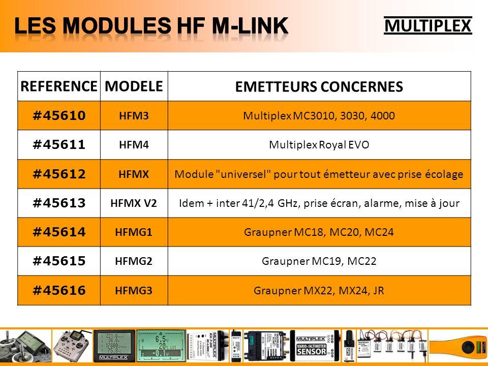 MULTIPLEX REFERENCEMODELEEMETTEURS CONCERNES #45610 HFM3Multiplex MC3010, 3030, 4000 #45611 HFM4Multiplex Royal EVO #45612 HFMXModule universel pour tout émetteur avec prise écolage #45613 HFMX V2Idem + inter 41/2,4 GHz, prise écran, alarme, mise à jour #45614 HFMG1Graupner MC18, MC20, MC24 #45615 HFMG2Graupner MC19, MC22 #45616 HFMG3Graupner MX22, MX24, JR