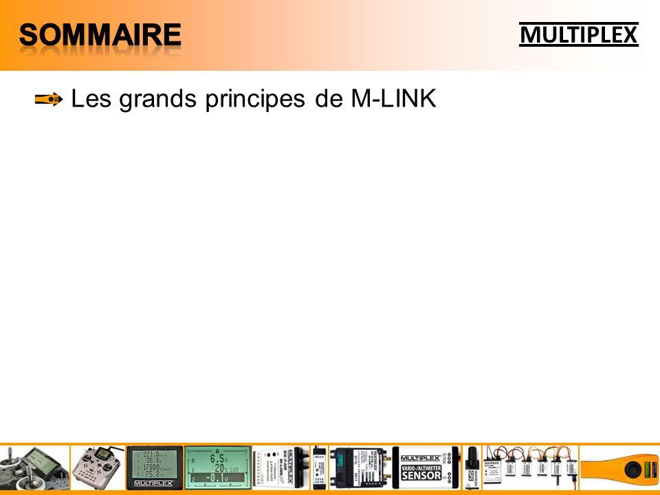 M-LINK est un système de liaison à saut de fréquence FHSS bidirectionnel M-LINK permet de transmettre 16 voies sur 12 bits, soit 3872 pas (0,03°/pas) M-LINK propose deux récurrences de servos : 21 ms (16 voies max.) et 14 ms (12 voies max.) M-LINK permet de retransmettre jusquà 16 mesures simultanées vers le sol M-LINK permet un branchement simple et immédiat des capteurs à travers le Multiplex Sensor Bus (MSB) M-LINK permet lécolage sans fil MULTIPLEX