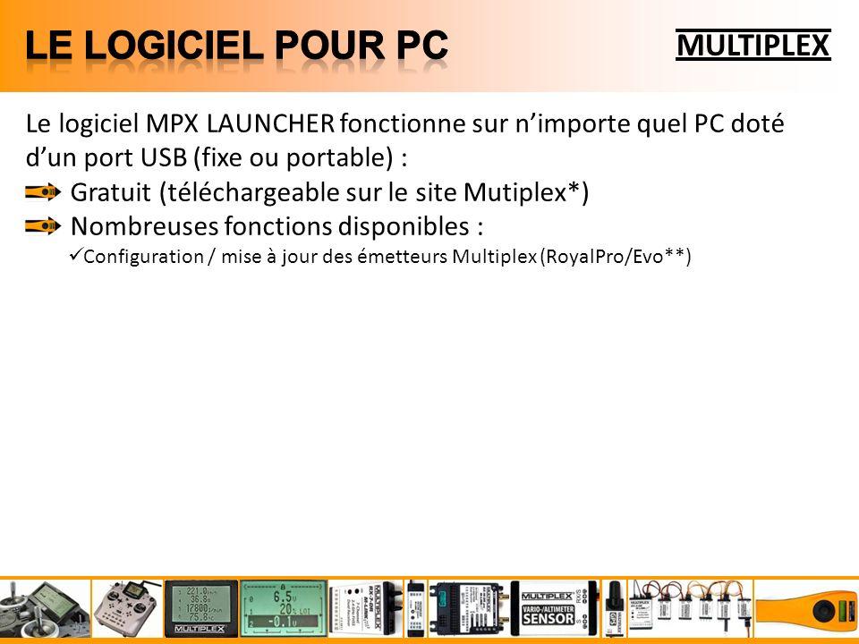 MULTIPLEX Le logiciel MPX LAUNCHER fonctionne sur nimporte quel PC doté dun port USB (fixe ou portable) : Gratuit (téléchargeable sur le site Mutiplex*) Nombreuses fonctions disponibles : Configuration / mise à jour des émetteurs Multiplex (RoyalPro/Evo**)