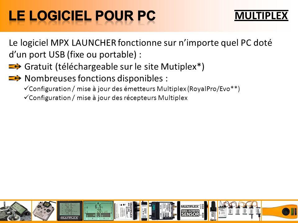 MULTIPLEX Le logiciel MPX LAUNCHER fonctionne sur nimporte quel PC doté dun port USB (fixe ou portable) : Gratuit (téléchargeable sur le site Mutiplex*) Nombreuses fonctions disponibles : Configuration / mise à jour des émetteurs Multiplex (RoyalPro/Evo**) Configuration / mise à jour des récepteurs Multiplex