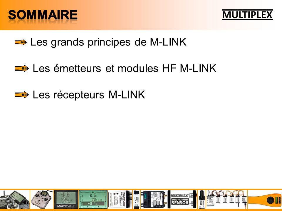 Les grands principes de M-LINK Les émetteurs et modules HF M-LINK Les récepteurs M-LINK Les capteurs de télémesure M-LINK MULTIPLEX