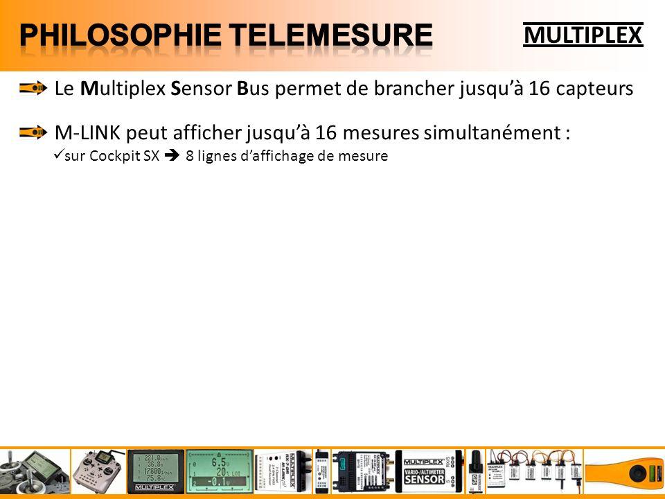 MULTIPLEX Le Multiplex Sensor Bus permet de brancher jusquà 16 capteurs M-LINK peut afficher jusquà 16 mesures simultanément : sur Cockpit SX 8 lignes daffichage de mesure