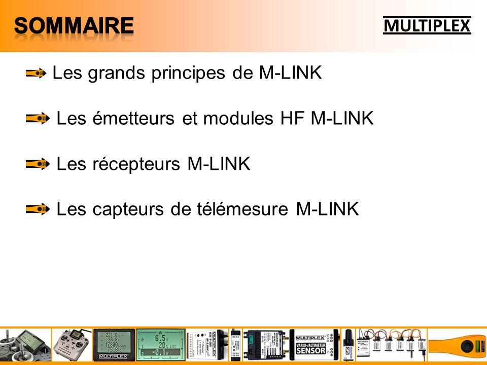 Les grands principes de M-LINK Les émetteurs et modules HF M-LINK Les récepteurs M-LINK Les capteurs de télémesure M-LINK La mise en œuvre de la télémesure M-LINK dans un modèle MULTIPLEX