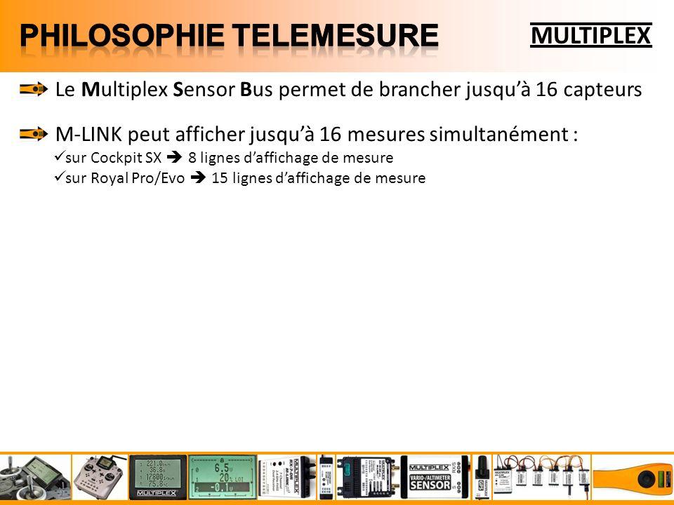 MULTIPLEX Le Multiplex Sensor Bus permet de brancher jusquà 16 capteurs M-LINK peut afficher jusquà 16 mesures simultanément : sur Cockpit SX 8 lignes daffichage de mesure sur Royal Pro/Evo 15 lignes daffichage de mesure