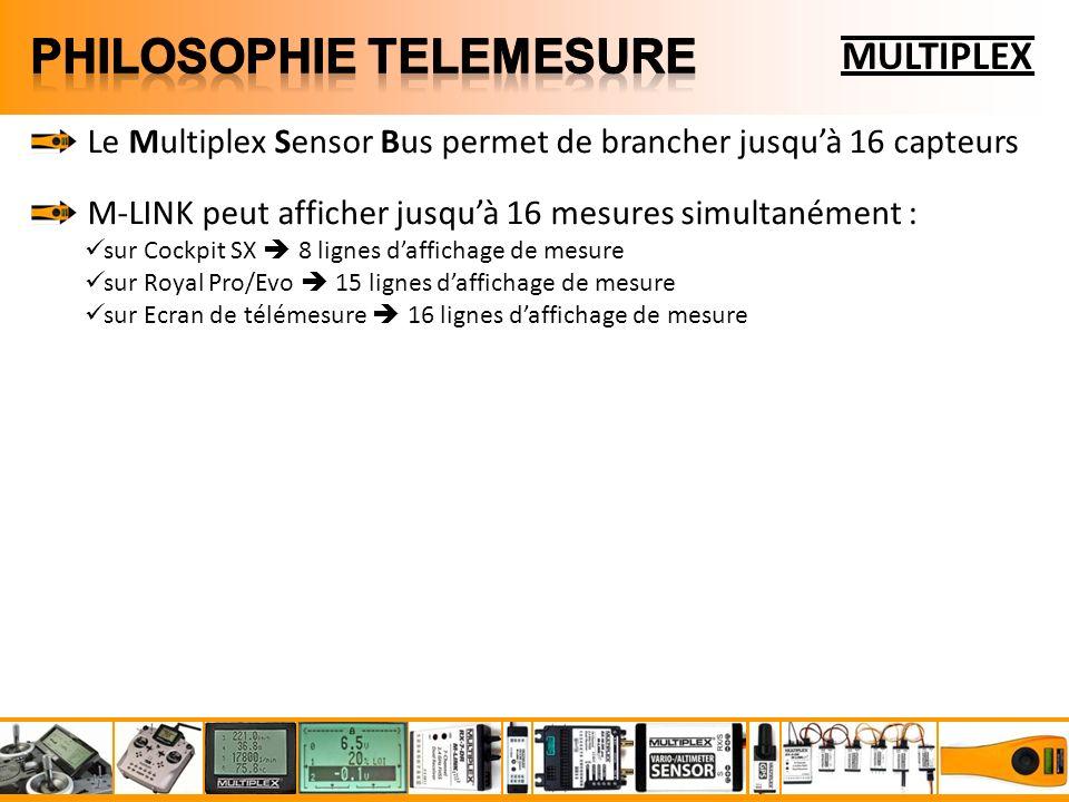 MULTIPLEX Le Multiplex Sensor Bus permet de brancher jusquà 16 capteurs M-LINK peut afficher jusquà 16 mesures simultanément : sur Cockpit SX 8 lignes daffichage de mesure sur Royal Pro/Evo 15 lignes daffichage de mesure sur Ecran de télémesure 16 lignes daffichage de mesure