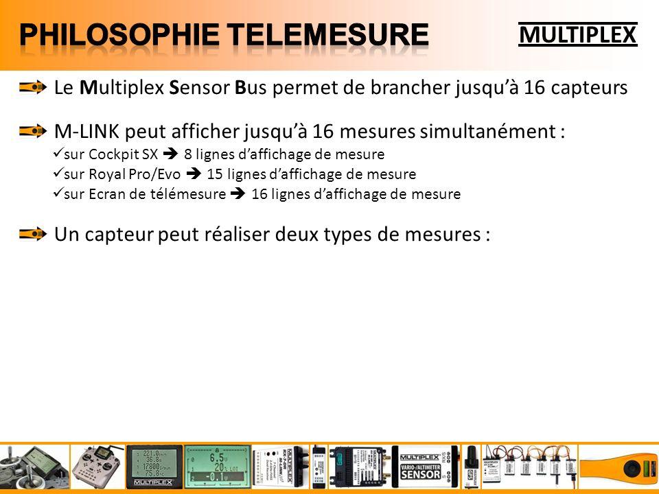 MULTIPLEX Le Multiplex Sensor Bus permet de brancher jusquà 16 capteurs M-LINK peut afficher jusquà 16 mesures simultanément : sur Cockpit SX 8 lignes daffichage de mesure sur Royal Pro/Evo 15 lignes daffichage de mesure sur Ecran de télémesure 16 lignes daffichage de mesure Un capteur peut réaliser deux types de mesures :