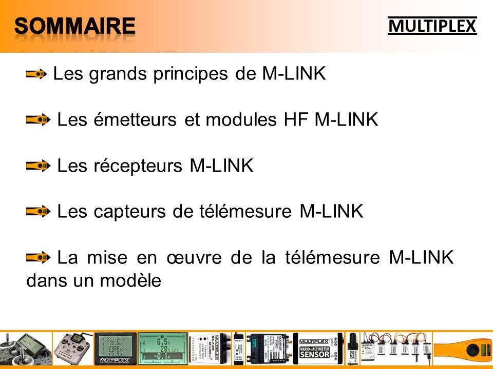 Laccès aux fonctionnalités du système M-LINK se fait : par lachat de lun des émetteurs M-LINK disponibles dans le catalogue MULTIPLEX par installation de lun des « module HF » disponibles dans la catalogue MULTIPLEX dans un émetteur hôte (équipé dorigine en 41, 72 MHz ou même en 2,4 GHz) MULTIPLEX