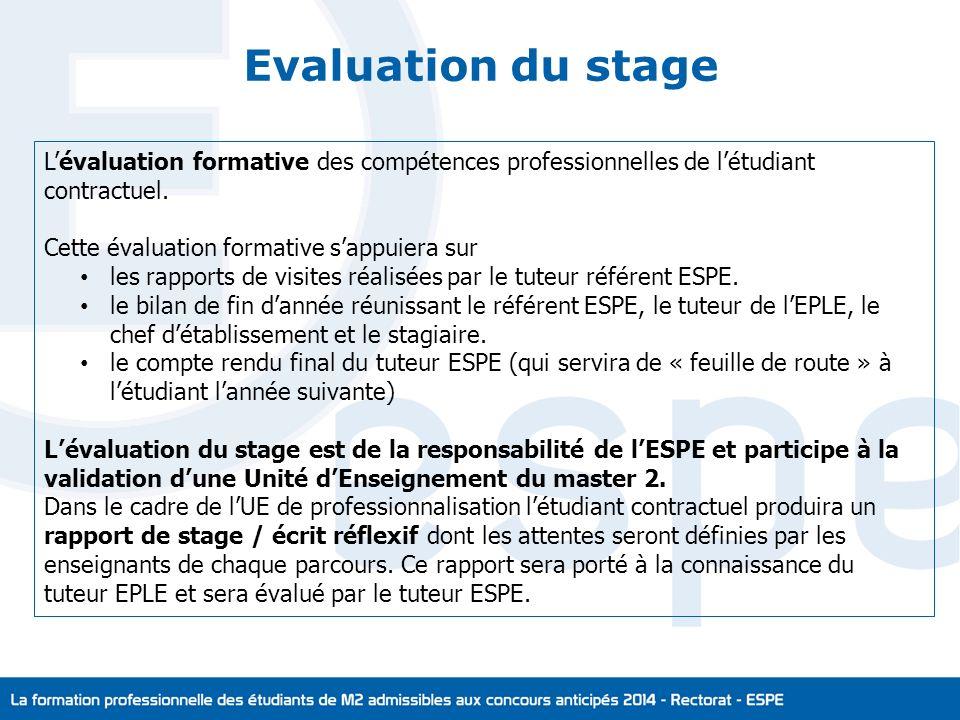 Evaluation du stage Lévaluation formative des compétences professionnelles de létudiant contractuel.