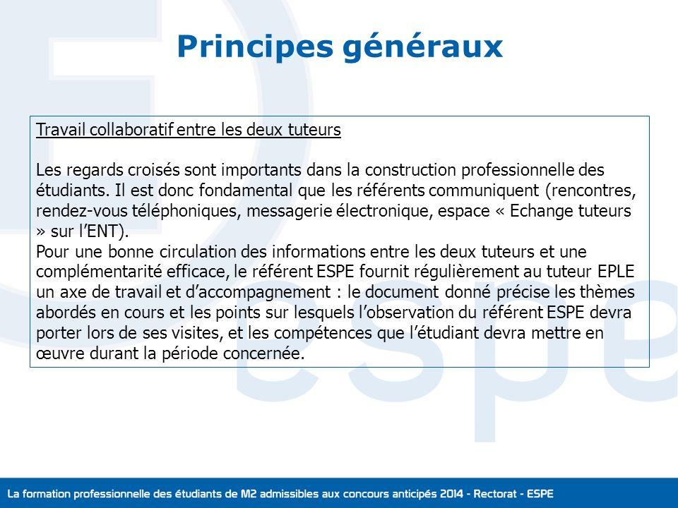 Principes généraux Travail collaboratif entre les deux tuteurs Les regards croisés sont importants dans la construction professionnelle des étudiants.