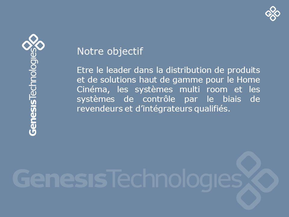 2 Etre le leader dans la distribution de produits et de solutions haut de gamme pour le Home Cinéma, les systèmes multi room et les systèmes de contrôle par le biais de revendeurs et dintégrateurs qualifiés.