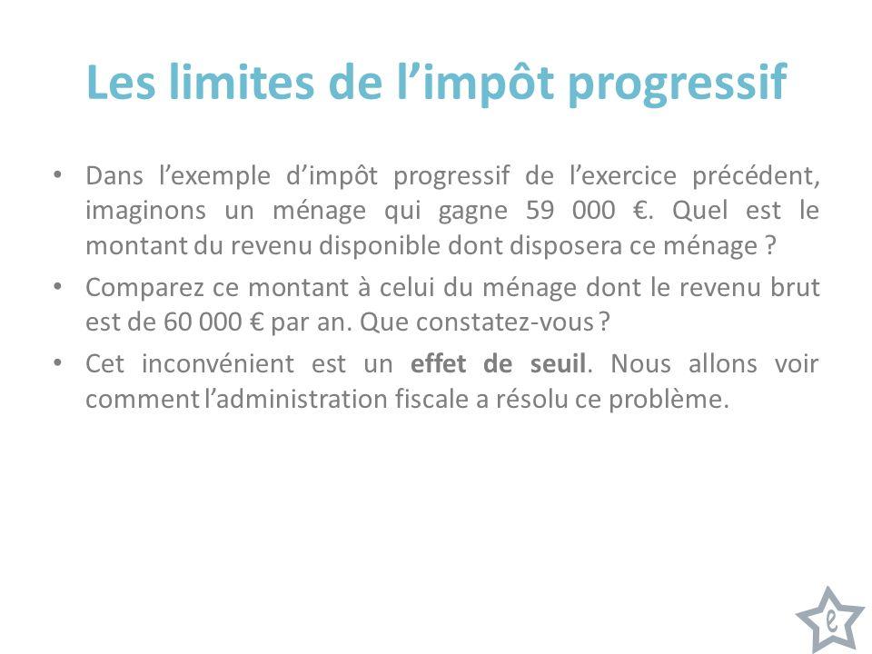 Les limites de limpôt progressif Dans lexemple dimpôt progressif de lexercice précédent, imaginons un ménage qui gagne 59 000.