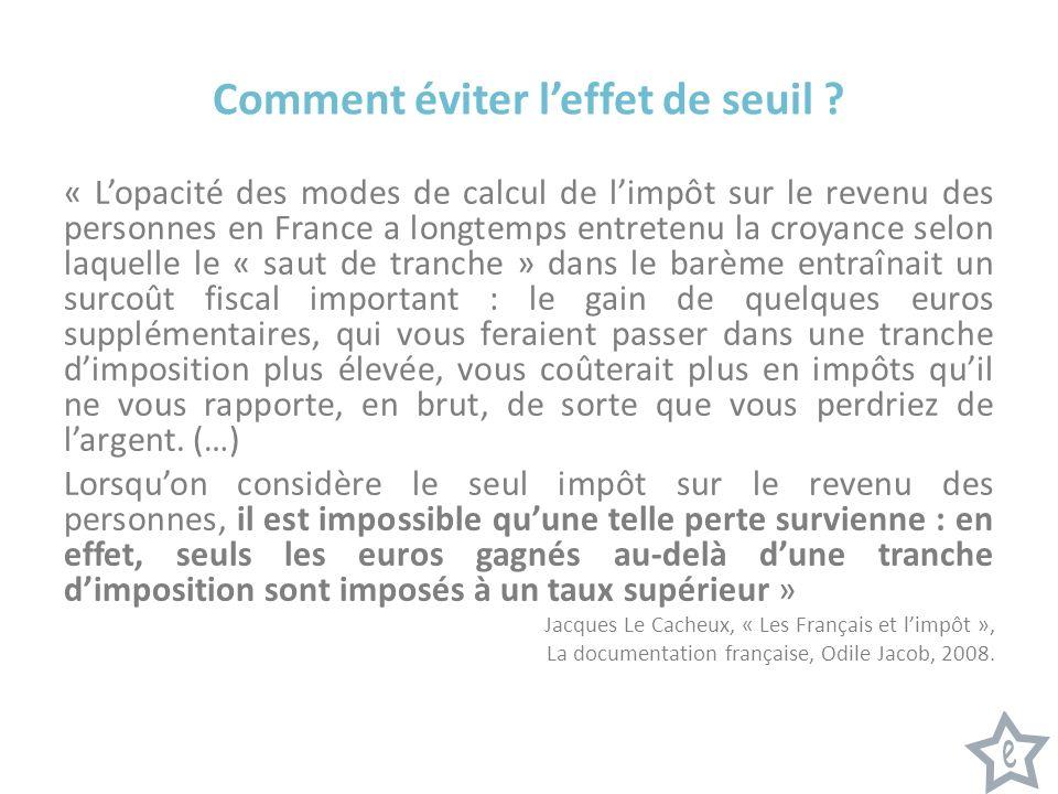 Comment éviter leffet de seuil ? « Lopacité des modes de calcul de limpôt sur le revenu des personnes en France a longtemps entretenu la croyance selo