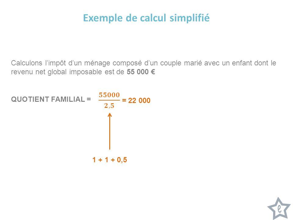 Exemple de calcul simplifié Calculons limpôt dun ménage composé dun couple marié avec un enfant dont le revenu net global imposable est de 55 000 QUOT