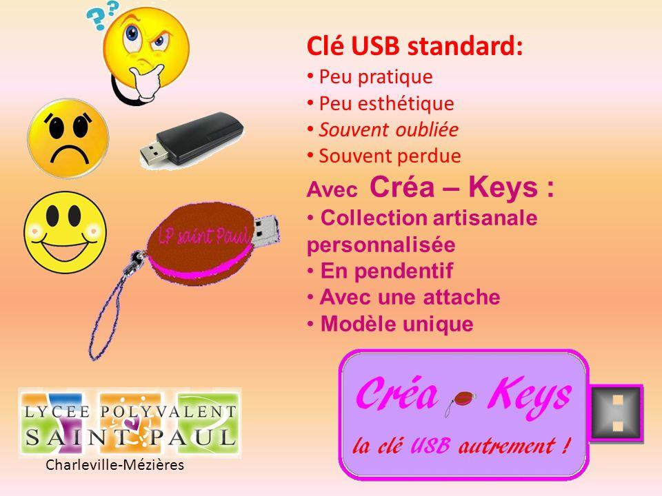 Charleville-Mézières Clé USB standard: Peu pratique Peu esthétique Souvent oubliée Souvent perdue Avec Créa – Keys : Collection artisanale personnalis