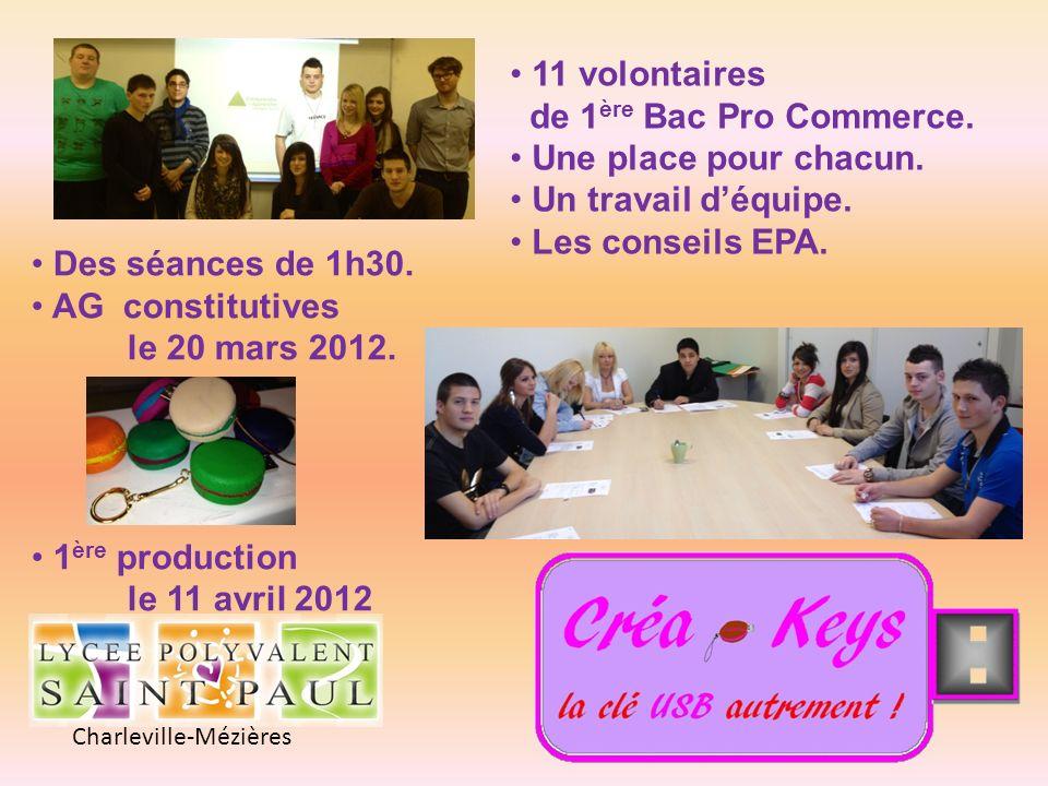 Charleville-Mézières 11 volontaires de 1 ère Bac Pro Commerce. Une place pour chacun. Un travail déquipe. Les conseils EPA. Des séances de 1h30. AG co