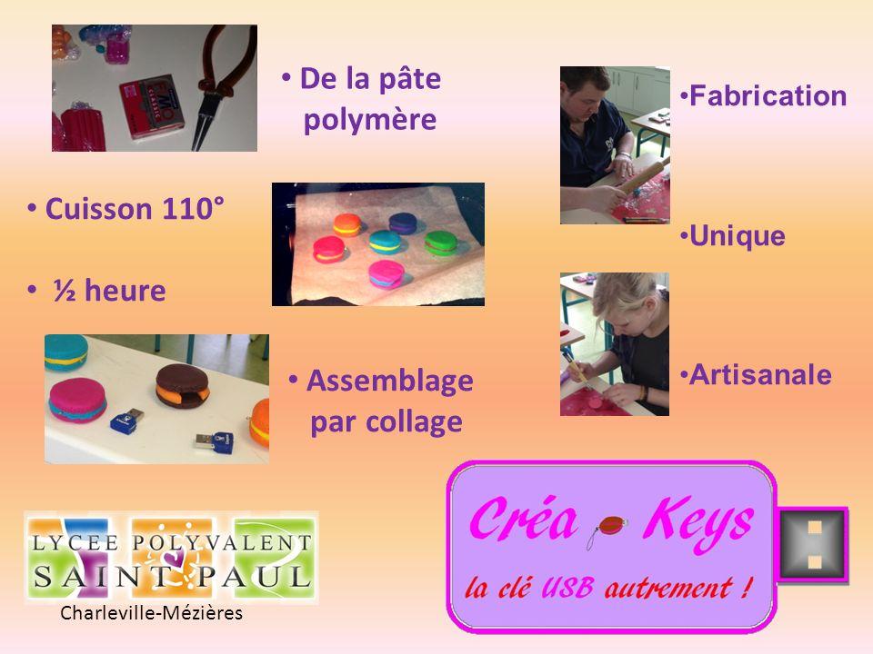 Charleville-Mézières Fabrication Unique Artisanale De la pâte polymère Cuisson 110° ½ heure Assemblage par collage