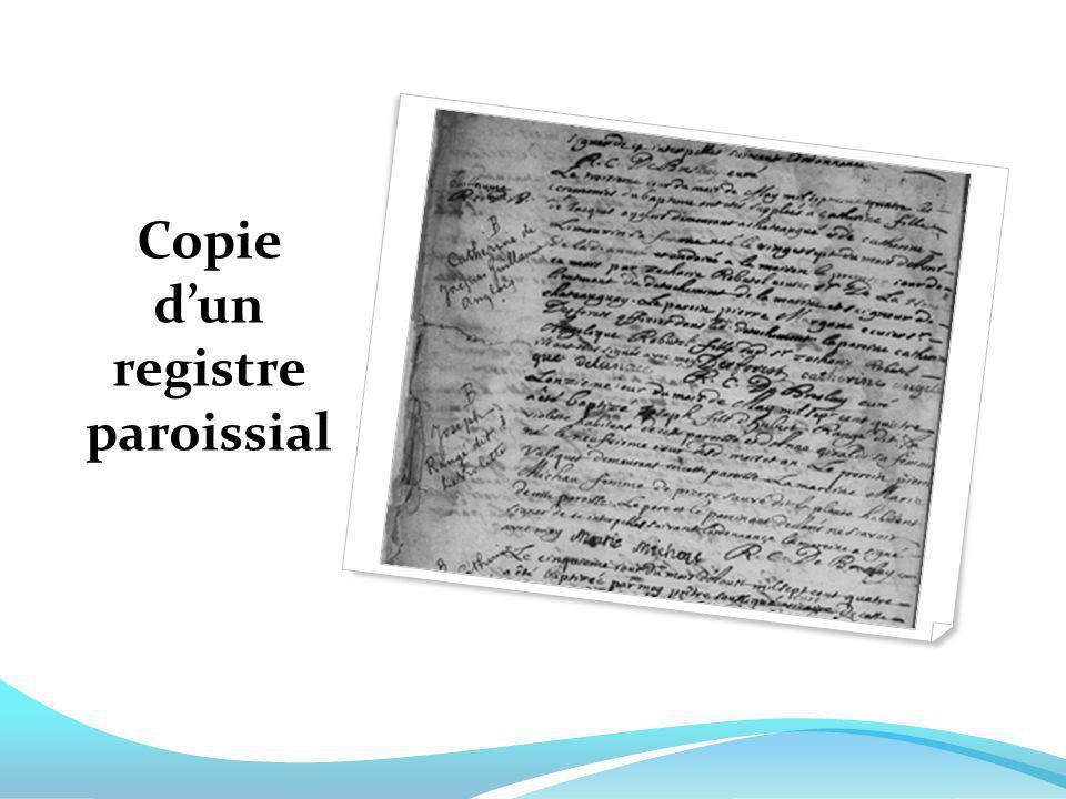 Copie dun registre paroissial