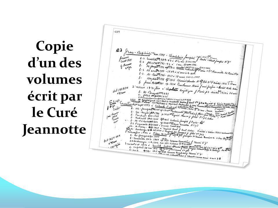 Copie dun des volumes écrit par le Curé Jeannotte