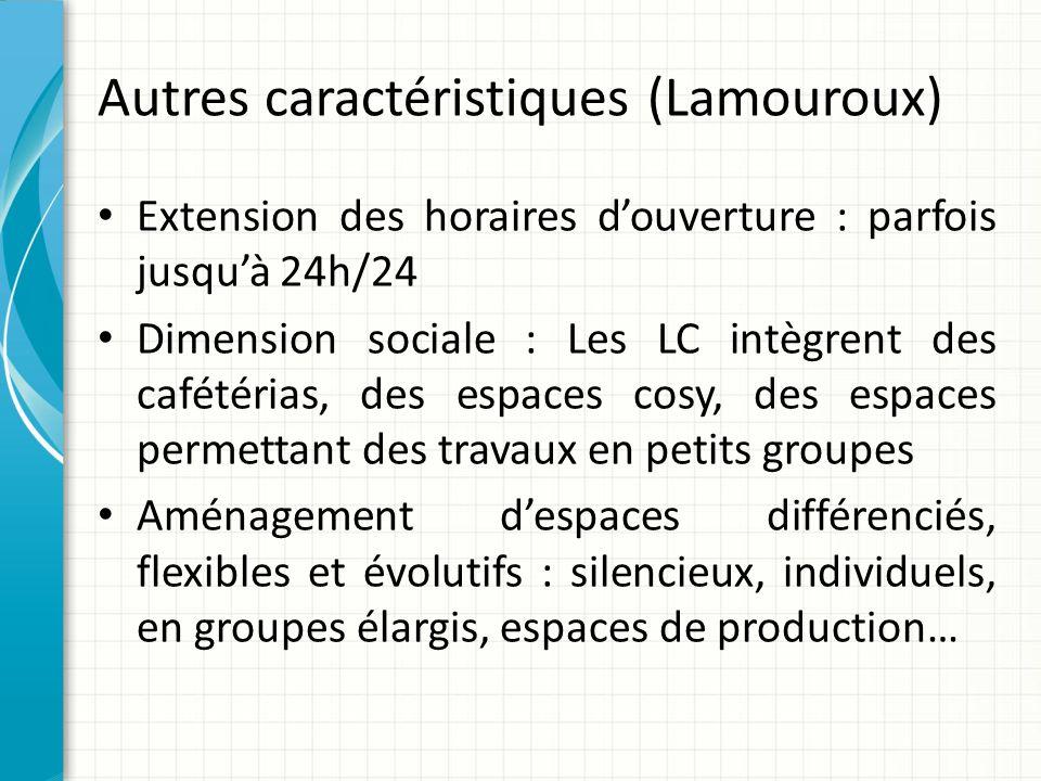 Autres caractéristiques (Lamouroux) Extension des horaires douverture : parfois jusquà 24h/24 Dimension sociale : Les LC intègrent des cafétérias, des
