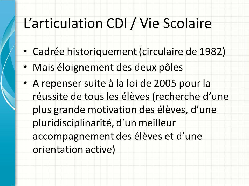 Larticulation CDI / Vie Scolaire Cadrée historiquement (circulaire de 1982) Mais éloignement des deux pôles A repenser suite à la loi de 2005 pour la