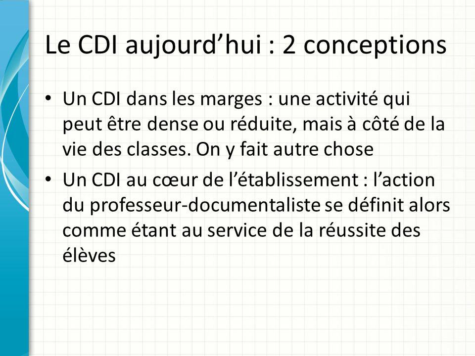 Le CDI aujourdhui : 2 conceptions Un CDI dans les marges : une activité qui peut être dense ou réduite, mais à côté de la vie des classes. On y fait a
