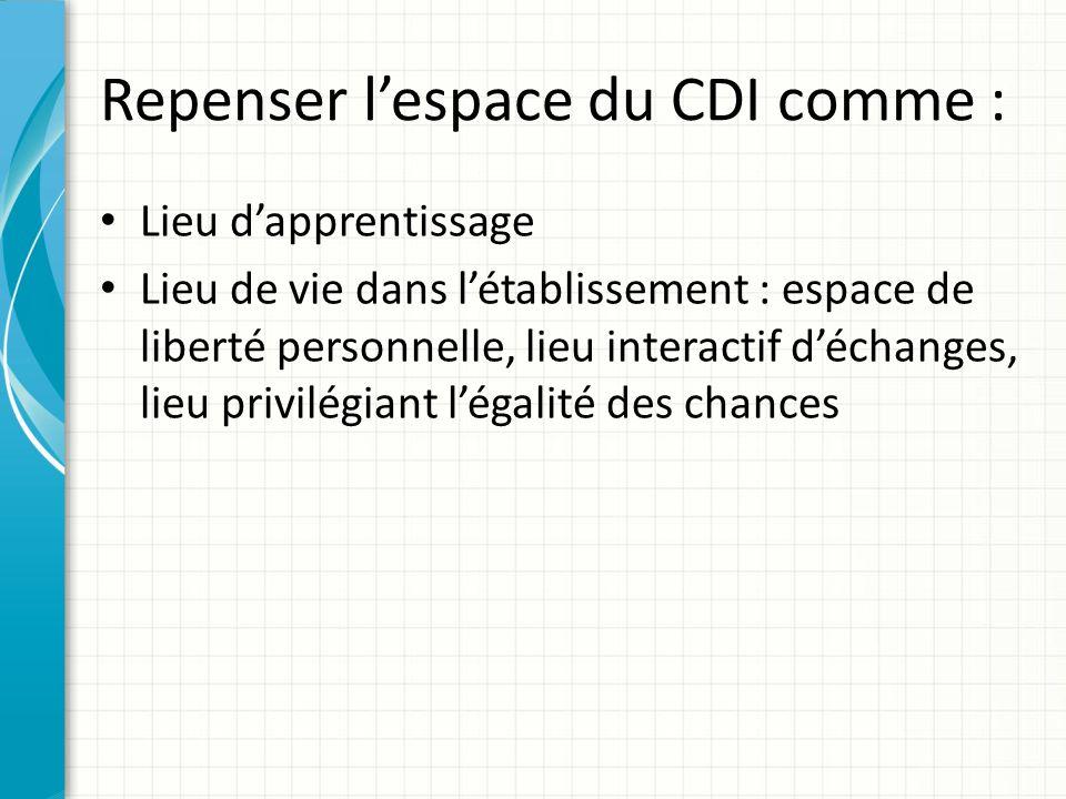 Repenser lespace du CDI comme : Lieu dapprentissage Lieu de vie dans létablissement : espace de liberté personnelle, lieu interactif déchanges, lieu p