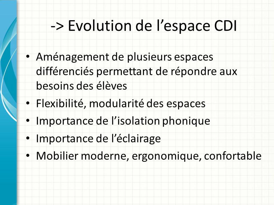 -> Evolution de lespace CDI Aménagement de plusieurs espaces différenciés permettant de répondre aux besoins des élèves Flexibilité, modularité des es