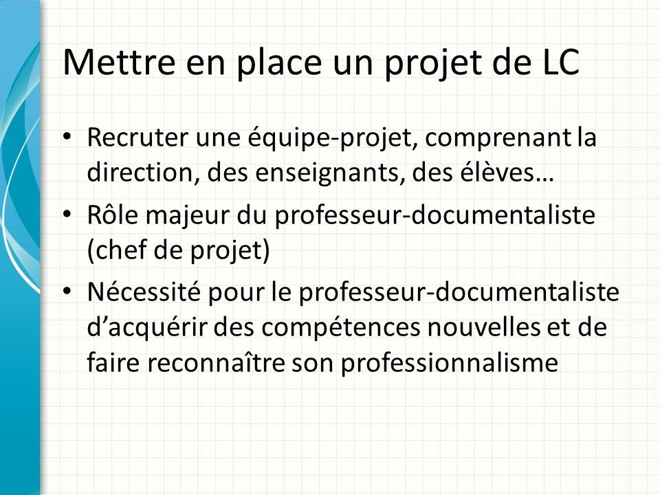 Mettre en place un projet de LC Recruter une équipe-projet, comprenant la direction, des enseignants, des élèves… Rôle majeur du professeur-documental