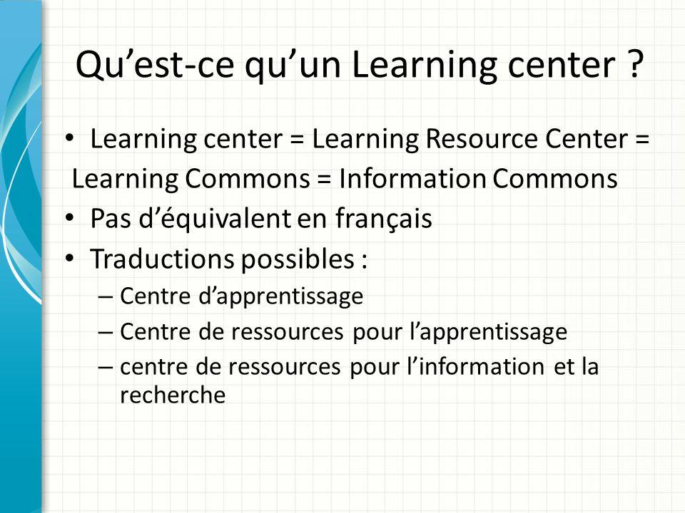 Définition (Jouguelet) Dans une version de travail dun rapport technique de lInternational Organization for Standardization (ISO), consacré aux bâtiments des bibliothèques, le Learning center est défini ainsi : « Zone de la bibliothèque dédiée aux objectifs dapprentissage des connaissances.