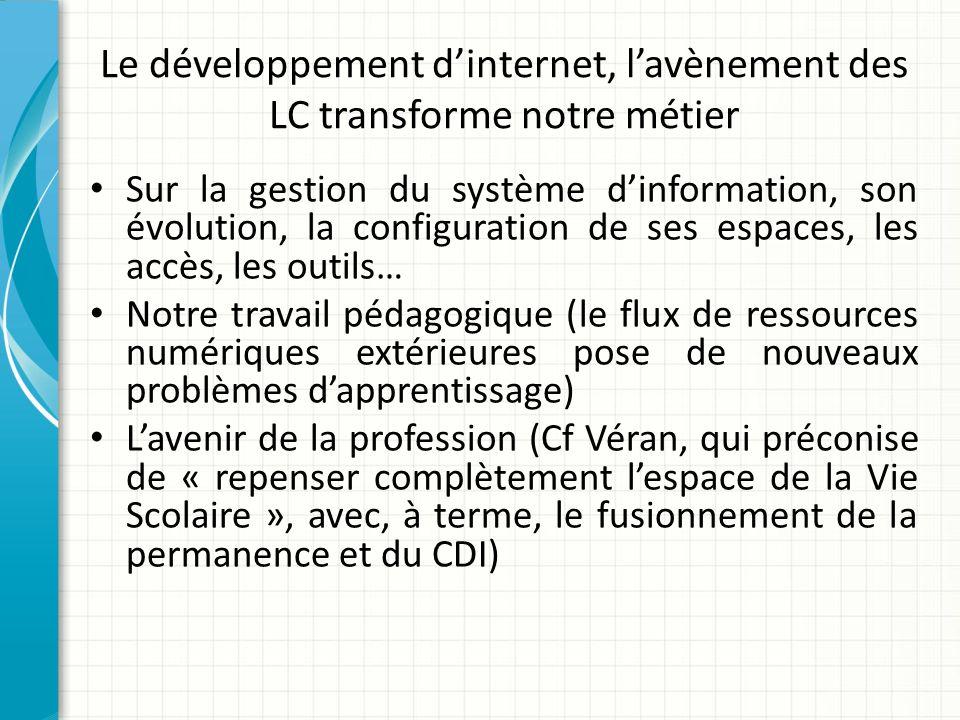 Le développement dinternet, lavènement des LC transforme notre métier Sur la gestion du système dinformation, son évolution, la configuration de ses e
