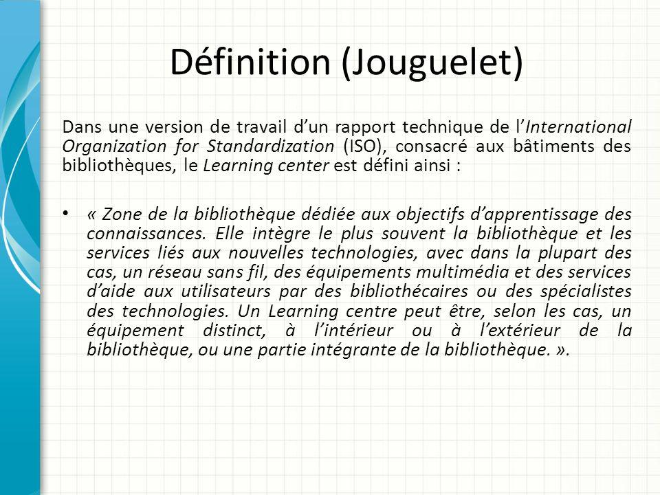 Définition (Jouguelet) Dans une version de travail dun rapport technique de lInternational Organization for Standardization (ISO), consacré aux bâtime