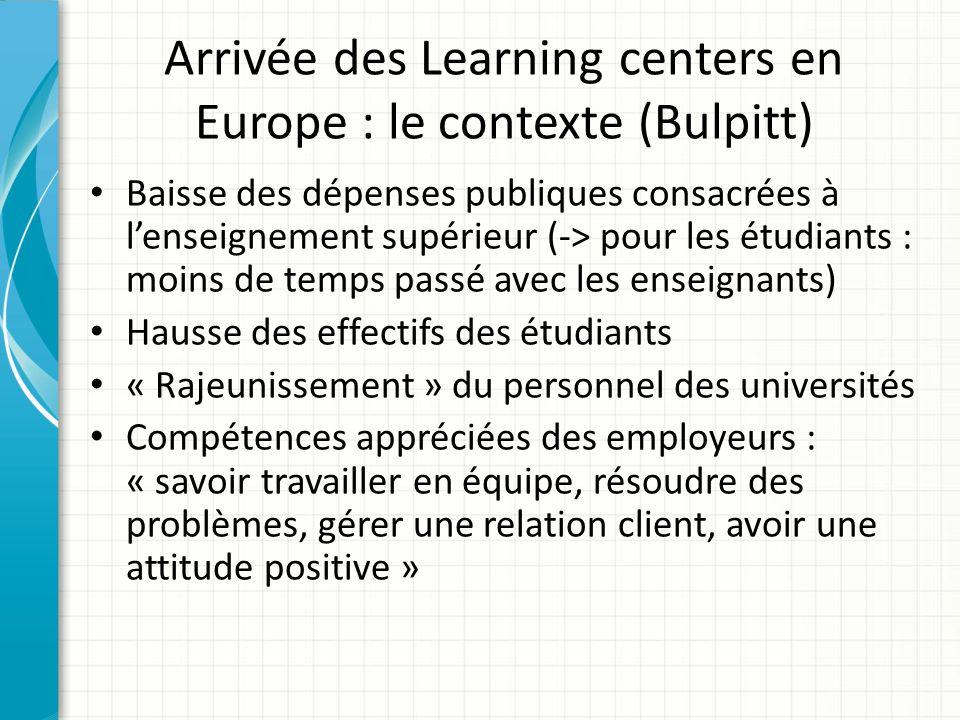 Arrivée des Learning centers en Europe : le contexte (Bulpitt) Baisse des dépenses publiques consacrées à lenseignement supérieur (-> pour les étudian