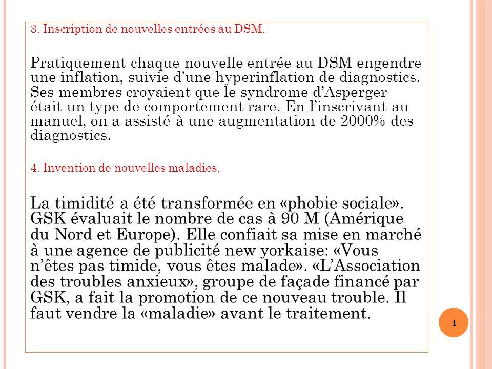 3.Inscription de nouvelles entrées au DSM.