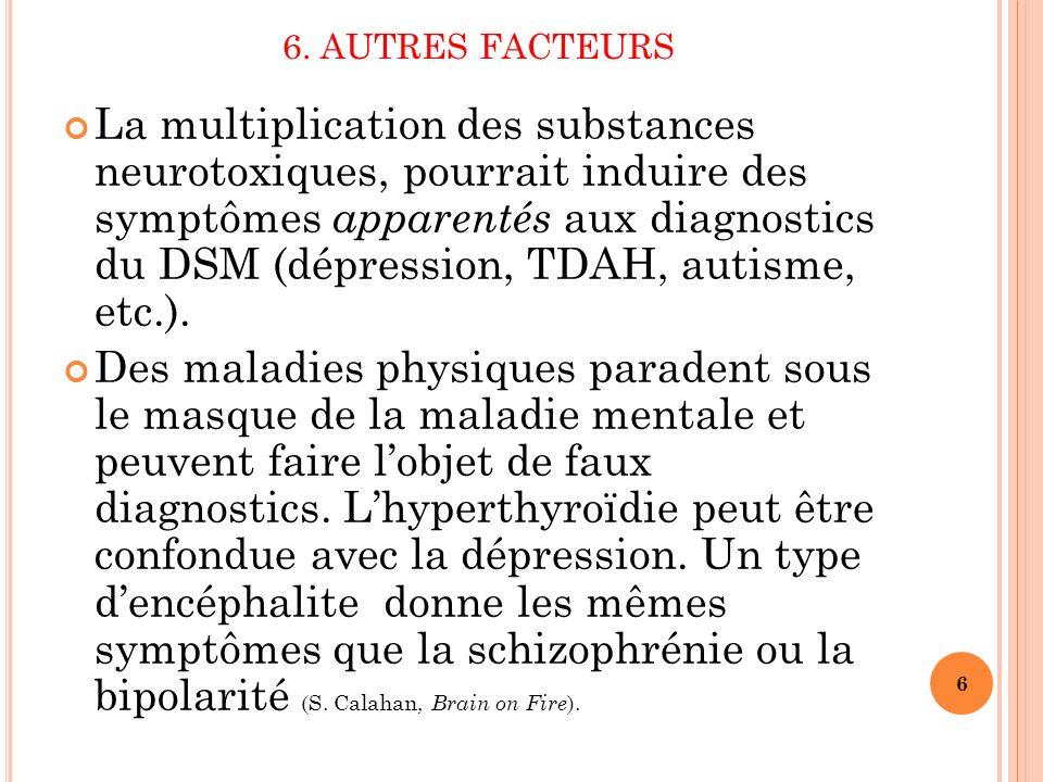 6. AUTRES FACTEURS La multiplication des substances neurotoxiques, pourrait induire des symptômes apparentés aux diagnostics du DSM (dépression, TDAH,