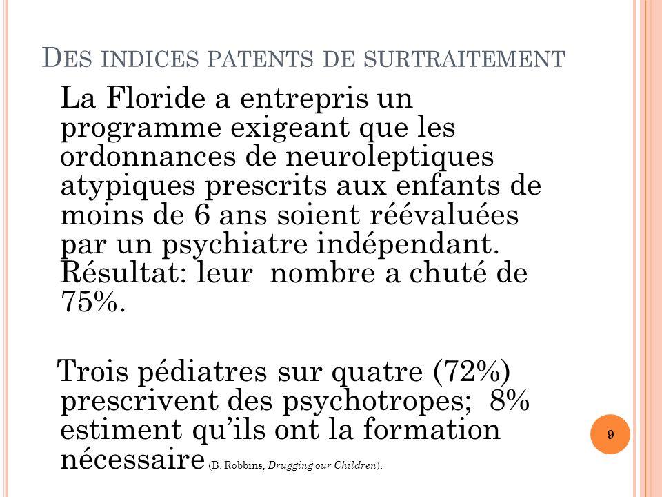 D ES INDICES PATENTS DE SURTRAITEMENT La Floride a entrepris un programme exigeant que les ordonnances de neuroleptiques atypiques prescrits aux enfants de moins de 6 ans soient réévaluées par un psychiatre indépendant.