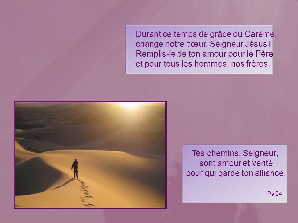Donne-nous de te suivre, Seigneur, de nous laisser libérer de tout ce qui entrave notre marche à ta suite. le désert est le lieu où, loin de tout, le