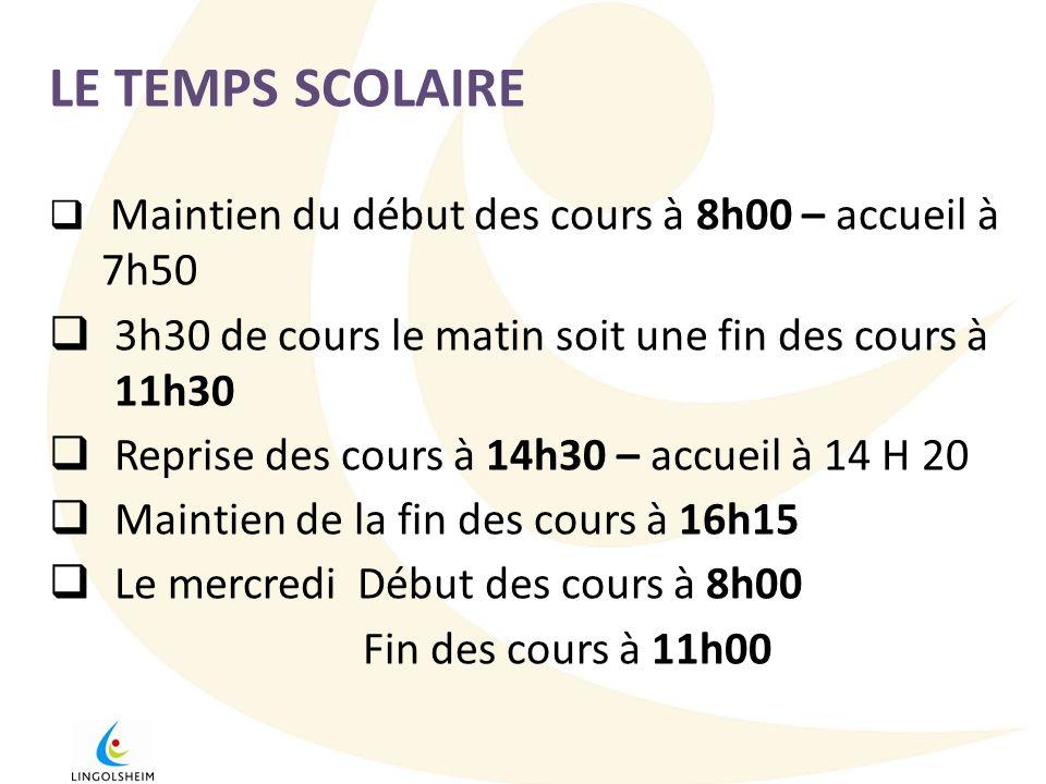 LE TEMPS SCOLAIRE Maintien du début des cours à 8h00 – accueil à 7h50 3h30 de cours le matin soit une fin des cours à 11h30 Reprise des cours à 14h30