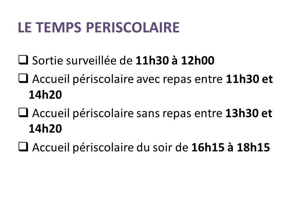 LE TEMPS PERISCOLAIRE Sortie surveillée de 11h30 à 12h00 Accueil périscolaire avec repas entre 11h30 et 14h20 Accueil périscolaire sans repas entre 13