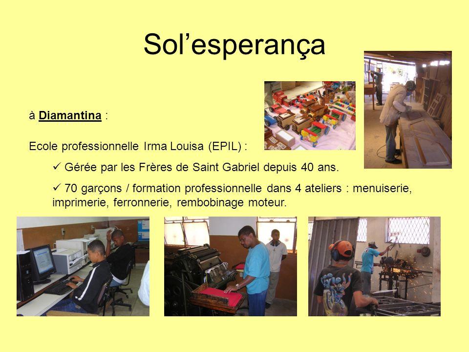 à Diamantina : Ecole professionnelle Irma Louisa (EPIL) : Solesperança a surtout financé linternat.