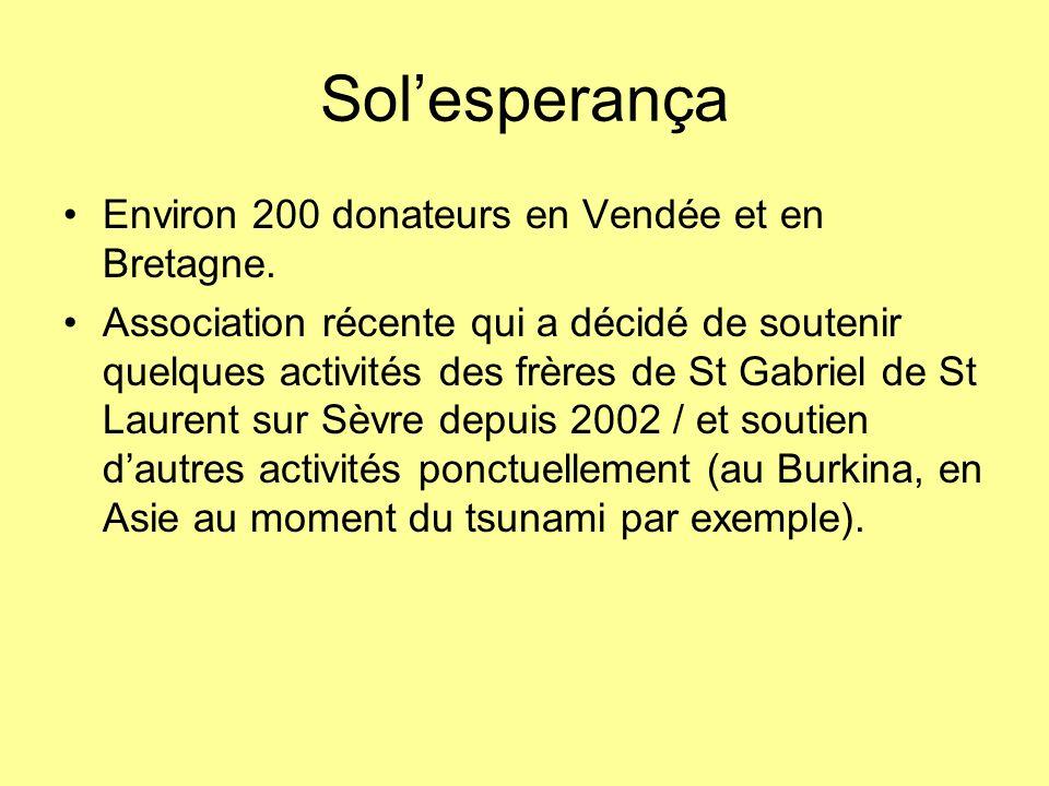 Solesperança Environ 200 donateurs en Vendée et en Bretagne. Association récente qui a décidé de soutenir quelques activités des frères de St Gabriel