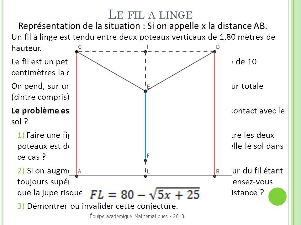 L E FIL A LINGE Un fil à linge est tendu entre deux poteaux verticaux de 1,80 mètres de hauteur.