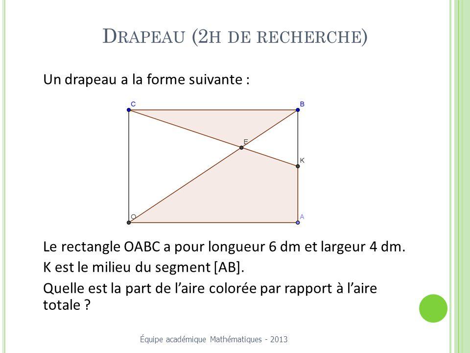 D RAPEAU (2 H DE RECHERCHE ) Un drapeau a la forme suivante : Le rectangle OABC a pour longueur 6 dm et largeur 4 dm.