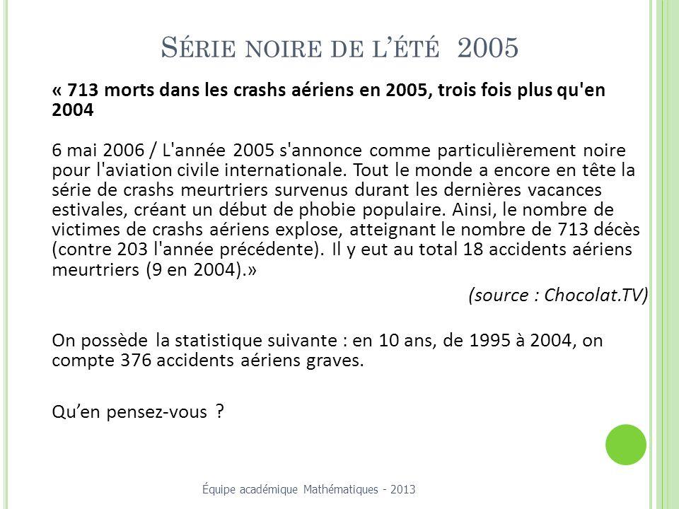 S ÉRIE NOIRE DE L ÉTÉ 2005 « 713 morts dans les crashs aériens en 2005, trois fois plus qu en 2004 6 mai 2006 / L année 2005 s annonce comme particulièrement noire pour l aviation civile internationale.