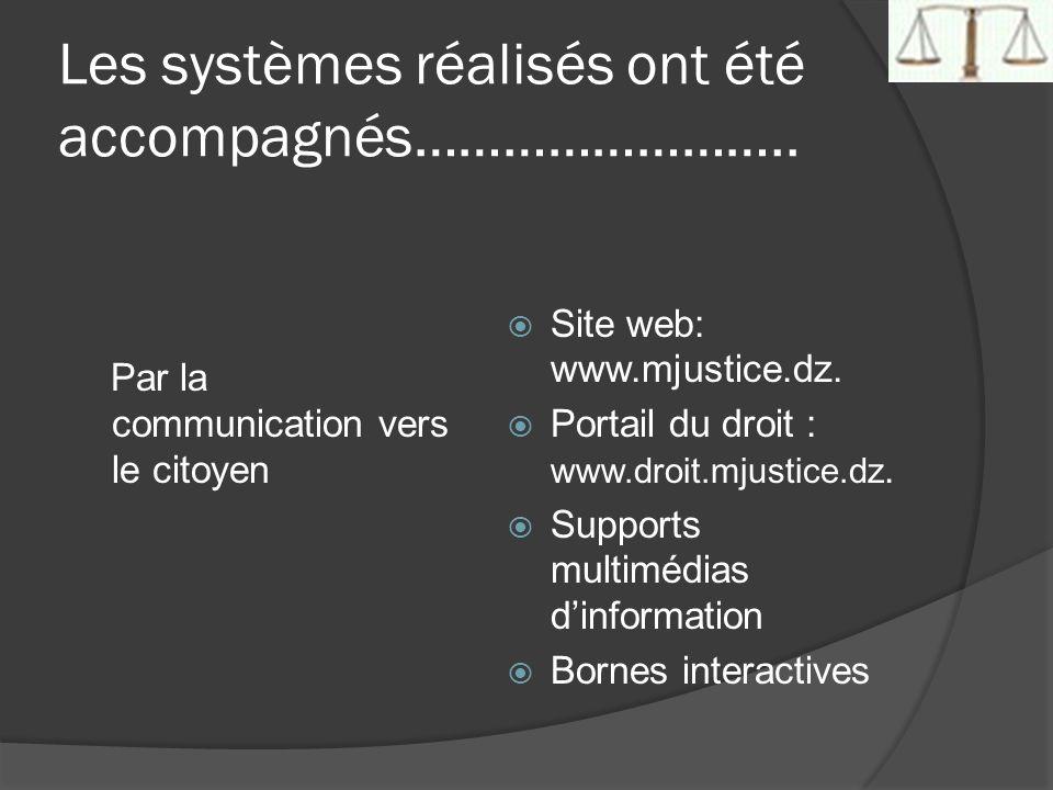 Les systèmes réalisés ont été accompagnés…………………….. Par la communication vers le citoyen Site web: www.mjustice.dz. Portail du droit : www.droit.mjust