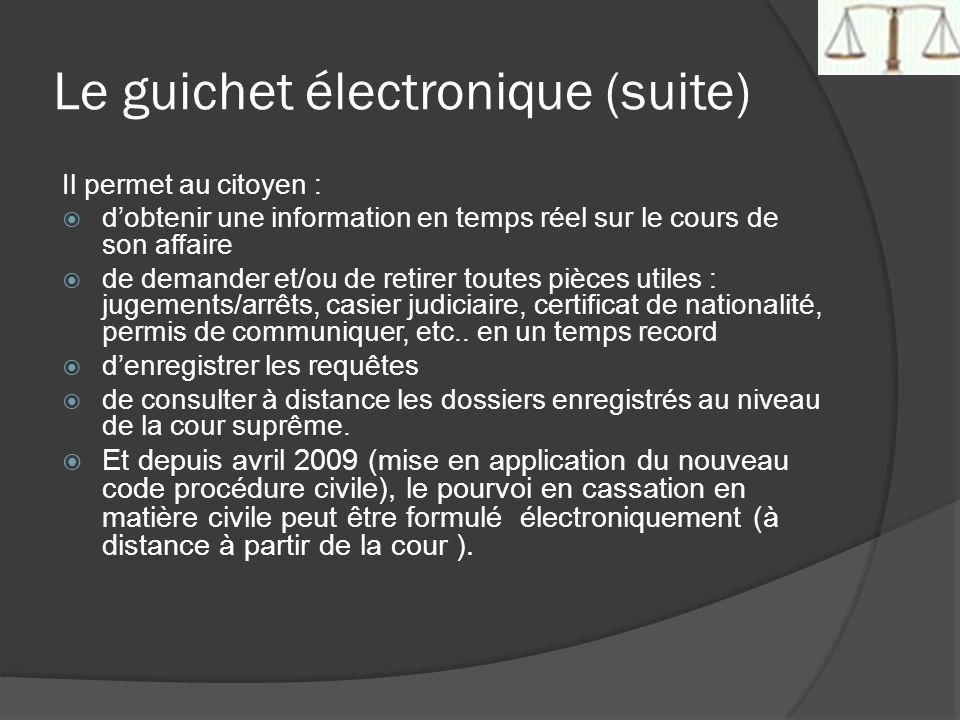 Le guichet électronique (suite) Il permet au citoyen : dobtenir une information en temps réel sur le cours de son affaire de demander et/ou de retirer