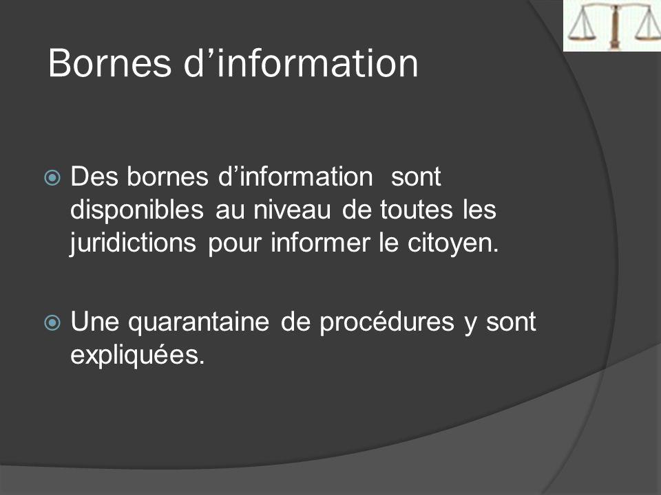 Bornes dinformation Des bornes dinformation sont disponibles au niveau de toutes les juridictions pour informer le citoyen. Une quarantaine de procédu