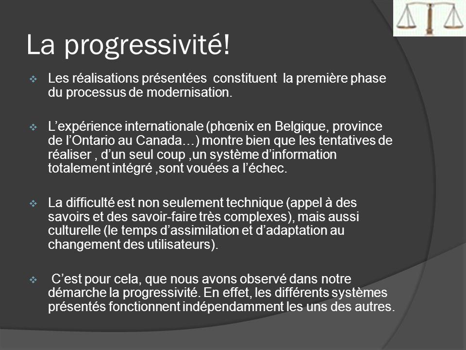 La progressivité! Les réalisations présentées constituent la première phase du processus de modernisation. Lexpérience internationale (phœnix en Belgi