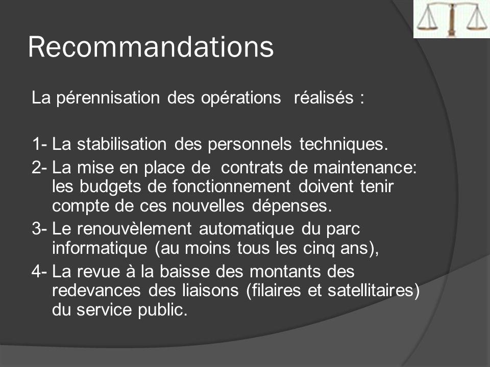 Recommandations La pérennisation des opérations réalisés : 1- La stabilisation des personnels techniques. 2- La mise en place de contrats de maintenan